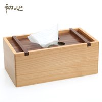 Wholesale maple wood types - Wholesale- Two-color rectangle tissue box maple rectangle Removable tissue box Rural tissue holder office supplier Home accessories