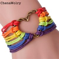Wholesale Pride Charms - Wholesale-ChenaWolry New Fashion Design Attractive Rainbow Flag Pride LGBT Charm Heart Braided Bracelet Gay Lesbian Love Bracelets Oct16
