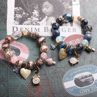 Wholesale Pink Heart For Charm Bracelet - Luxury Blue and Pink Crystal Bead Bracelet For Women Fashion Ocean Charm Bracelet decorated with Heart and Small metal Watch Great Gift