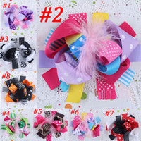 Wholesale Kids Hair Feathers - Boutique girls'Hair Bows hair clips Kids Head Hair Accessories Children Bows Clip jewelry Barrette Clamp Girls Feather ribbon Bows A7398