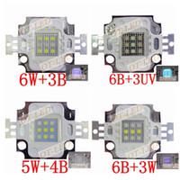 bombilla uv de alta potencia al por mayor-Venta al por mayor-2015New 5pcs 10W cuadrado Actinic Hybrid Cool White 10000K + Royal Blue 450nm / UV 395nm Bombilla de luz LED de alta potencia Planta de acuario