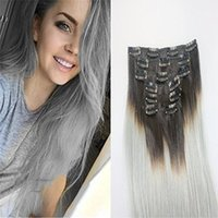 Wholesale Two Full Heads Extensions - 7Pcs 120g Color #1b Grey 14''-26''Two tone Extensions Ombre Clip in Remy Human Hair Extensions Full Head Ombre Hair Extensions