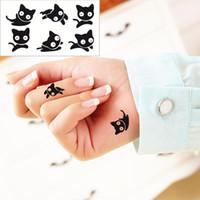 Wholesale Black Henna Hand Tattoos - Wholesale- Small black cat Flash Tattoo Hand Sticker 10.5*6cm Waterproof Henna Beauty Selfie Tatoo Fake Temporary Body Art Tattoo Sticker