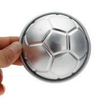 Wholesale Wholesale Soccer Drop Ship - Wholesale- Drop shipping 1pc Soccer Ball 3D Sports Football Birthday Cake Pan Tin Mold Mould Aluminium