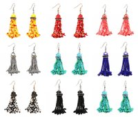 8 couleurs Boucles d'oreilles perlées en perles Fashion Long Drop Dangle Earring Handmade Hook Eardrop Elegant Jewelry Gift For Women Cadeau D44L