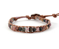 Atacado- Boa qualidade Random Shape Tourmaline Leather Wrap Bracelet Tecido Beaded Bracelet Holiday Jewelry Wholesaler
