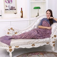 Wholesale Knit Cocoons - 2017 new Soft Handmade Knitted Mermaid Tail Blanket Lovely Warm Sofa TV Blankets Cocoon Costume mermaid blanket blanket plaid