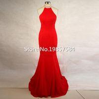 Wholesale Dressy Dress Size 12 - Dressy New Star Sexy Women Red Mermaid Chiffon Beaded Halter neck 2017 Real Sample vestido de festa Long Fitted Prom dresses