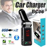 Wholesale Wireless Bluetooth Mini Speaker Adapter - BC06 Bluetooth MP3 Car Charger Wireless Support TF Card Music Player Speaker FM Transmitter Mini Dual Ports Adapter For iphone Samsung