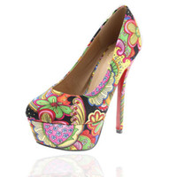 ingrosso stampa tacchi alti colorati-2017 New Spring Lover Arancione Floral Prints Colorful High Platform Heels Shoes 2 Colors Bohemia Retro Shoes Size 35-39
