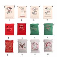 Wholesale Vintage Sack - 2017 New Year Creative Santa Claus Deer 6 Styles Drawstring Canvas Santa Sack Rustic Vintage Christmas Gift Bag Decoration