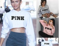 Wholesale Top Fahsion - Fahsion NEW Letter Printed Pink Hoodies Women Long Sleeve Hooded Crop Tops Autumn Winter Fashion Loose Sexy Cropped Sweatshirts Jumper Shirt