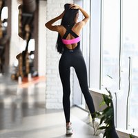 Wholesale Sport Sleeveless For Women - Women Yoga Sets Fitness Sports Dance Weight Loss Yoga Suits Workout Clothes for Woman Long Jumpsuit Rose White Gray S-XL Wholesale 2501068
