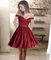 Wholesale Pocket Cocktail Dresses - 2017 Little Dark Red Mini Short Formal Party Dresses Off the Shoulder Beads With Pockets Short Prom Homecoming Dresses Cocktail Dress