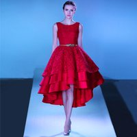 Wholesale Little Girl Sexy Fashion - 2017 Pretty Girl Red Lace Hi-Low Prom Dresses Lace up Back Tiered Graduation Party Dress Evening Gowns Tea Lengh Robe de Soiree