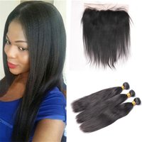 Wholesale Light Yaki Human Hair - Light Yaki Brazilian Virgin Hair 3 Bundles With Lace Frontal Closure Yaki Straight Human Hair Weaves 3Pcs With 13*4 Lace Frontal