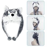 Wholesale Hat Mascot - 1 pcs Cartoon Animal Style Wolf Hat Cute Fluffy kids Cap Soft Warm Scarf Earmuff Plush Hat Mascot Huskies Hat new hot selling