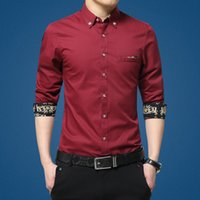 Wholesale French Red Dressing - Wholesale- Luxury Brand Mens Dress Shirt French Cuff Slim Fit Business Shirts Men Long Sleeve 100% Cotton Casual Red Shirt Plus Size M-5XL