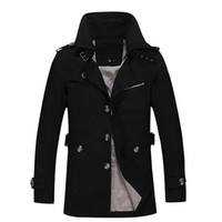 Wholesale Fashion british style single breasted men trench coat xl stand collar casual overcoat CQF801