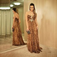 Wholesale Cheap Leopard Print Long Dresses - Sparkly Leopard Long Prom Dresses 2017 Sweetheart Beaded Crystal Formal Prom Gowns Women Cheap Pageant Dress Custom Made