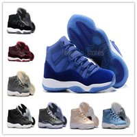 Wholesale Silk Satin Gift Boxes - High Quality 2017 New Retro 11 Mens Basketball Shoes with Shoe Box XI Royal Blue Velvet Cool Gray Burgundy Maroon Ultimate Gift of Flight