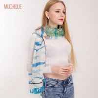 Wholesale Turtle Scarves - Muchique Scarf Women Blue Chevron Printed Sea Turtle Cute Tassels Scarves Ladies Big Wrap Chic Shawl