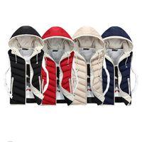Wholesale Mens Down Padded - Fall-Lover Vest Men Winter Coat Plus Velvet Mens Vest Male Hooded Vests Men Women Cotton Padded Sleeveless Jacket Man Waistcoat