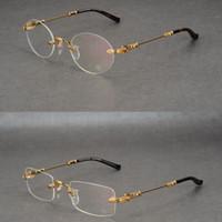 ingrosso occhiali da sole maschio-New crow heart montature per occhiali senza montatura montature per uomo quadrate marea tonda montature per occhiali maschili miopia montature per occhiali da vista