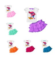 Wholesale cute lace skirts - 6 colors New summer baby girls outfits Trolls printing short sleeve top+TuTu lace skirts 2pcs set Trolls kids suit