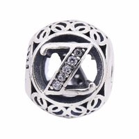 Wholesale Sterling Silver Alphabet Letters - AAA CZ Vintage Letters Z Charms Beads 925 Sterling Silver Alphabet Z Beads For Diy Brand Logo Bracelets Jewelry Making Accessories BF060
