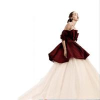 vestidos de bola de envío rápido al por mayor-Vestido de noche formal de dos piezas fuera del hombro Peplum burbuja y faldas largas de tul falda Envío rápido vestido de fiesta vestidos de baile