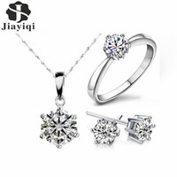 Wholesale zircon crystals for sale - 2017 Hot Sale Silver Fashion Jewelry Sets Cubic Zircon Crystal Statement Necklace & Earrings & Rings Fine Jewelry for Women Gift