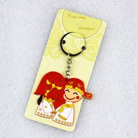Wholesale Keychain Grooms - Bride and Groom Keychain Wedding Favors And Gifts Couple Lovers Keyring Souvenirs Festive Party Valentine's Day Supplies ZA2941
