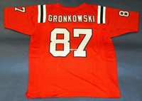 Cheap # 87 ROB GRONKOWSKI CUSTOM THROWBACK JERSEY GRONK rosso Mens cuciture Throwback Taglia S-5XL maglie da calcio