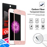 Wholesale Thin Crystal Glass - For iphone 7 6 6s plus 0.3mm 9H Ultra thin Carbon Fiber 3D Round Edge Crystal Clear Tempered Glass Screen Protector retail package