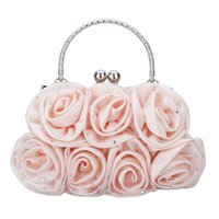 Wholesale Crystal Rose Evening Handbag - Wholesale-2016 Satin Rose Handbag Ladies Evening Party Clutch Bag Solid High-Quality Shinning Crystals Fashion Tote Party Bag For Women