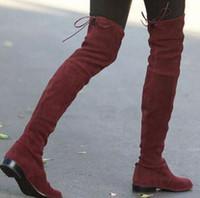 mais de joelho botas de couro venda venda por atacado-Venda quente Tecido Elástico Mulher Botas de Couro de Alta Qualidade Sobre O Joelho Botas de Mulher 2017 Nova Chegada de Moda Sapatos de Grife Mulher