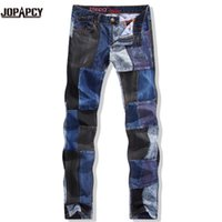 Wholesale Men S Perfumes - Wholesale-HOT fashion 2016 brand new jeans men skinny perfume ripped hip hop rock denim pants motorcycle pantalones plus size MYA0029