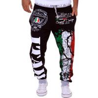 Wholesale Wholesale Design Loose Pants - Wholesale- 2017 foreign trade selling trendy fashion pants Italian flag printing design men's leisure pants