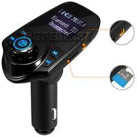 radio sd card player al por mayor-Adaptador de coche inalámbrico Bluetooth Transmisor de FM T11 Adaptador de radio Equipo de auto compatible con tarjeta TF / SD y cargador USB para auto para smartphones