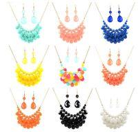 Wholesale Bib Earrings - Fashion Women Vintage Chains Bohemian Tassels Bubble Bib Necklace Teardrop Statement Necklace Choker Necklace with Earring Set