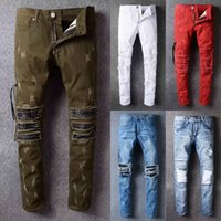 Wholesale Long Coat Design Men - 2017 wholesale AMIRI jeans men top quality famous brand design ripped man jean biker pants