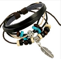 Wholesale Leather Drawstring Bracelets - New Fashion Jewelry Cute Sweet Multilayer Leaf Charms all-match Drawstring Beads Leather Bracelet four colors mix