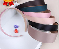 Wholesale Satin Ribbon Band - 50pcs Colored Satin Covered Resin ribbon winding hair band Kids hair Accessories width :2.5cm Basic head band for woman girl Lady FJ3125