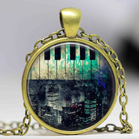 Wholesale Accessories Wholesale New York - Free shipping Hot Fashion Rustic Piano New York City Necklace,Piano Jewellery,Piano Accessory glass dome cabochon necklace