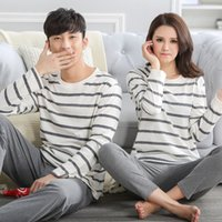 Wholesale Pyjama Tops - Wholesale- 100% cotton ! Stripe Couple Autumn Sleep Lounge Pant+Tops 2 Piece Pijamas Couples Womens Men Pyjama Sets Lovers Sleep Wear J0004