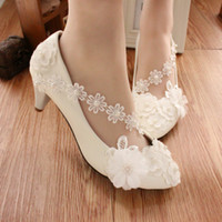 Wholesale Heel Anklets - White anklets flower bridesmaid shoes high-heeled dress shoes low pearl wedding shoe female with performance