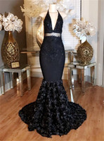 Wholesale Silk Roses Dress - Sexy Black Mermaid Prom Dresses 2017 Lace Halter Deep-V-Neck Appliques with Rose Flowers Formal Evening Dress Party Gowns