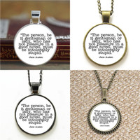 Wholesale ladies keyrings - 10pcs Jane Austen the person be it gentleman or lady Quote Glass Necklace keyring bookmark cufflink earring bracelet