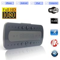 Wholesale Ip Retail - P2P HD 1920*1080P Hidden Alarm Clock DVR Surveillance Wireless WIFI Camera Night Vison Spy DV IP Cam WIth Retail Box
